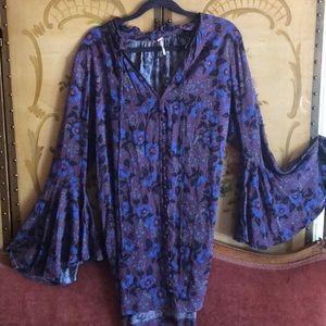 🔮Free People Purple Bell Sleeve Tunic Dress